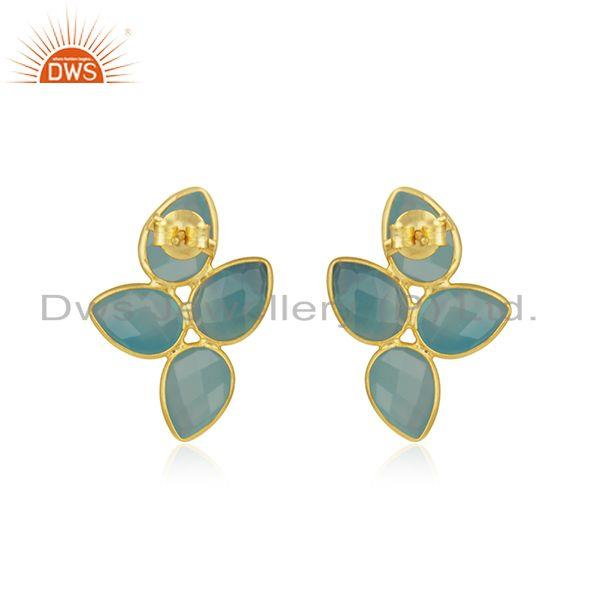 Suppliers Aqua Chalcedony Gemstone Gold Plated Designer Silver Leaf Earrings Jewelry