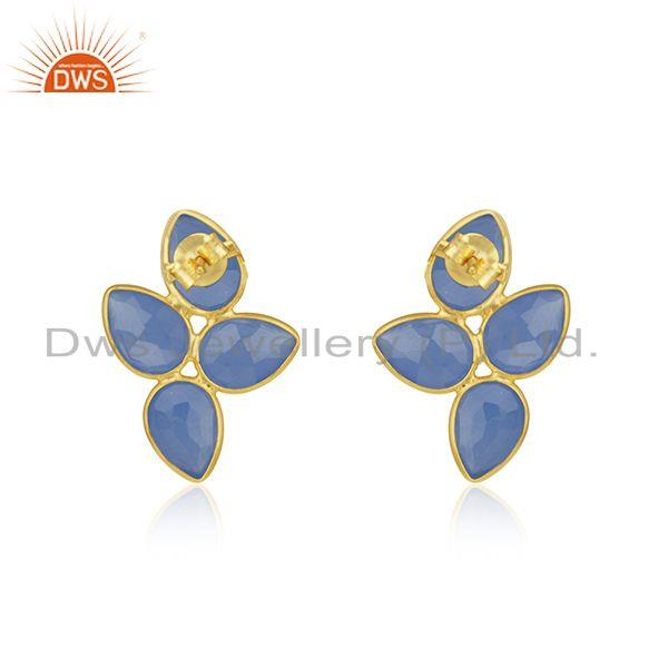 Suppliers Leaf Gold Plated Silver Blue Chalcedony Gemstone Earrings Jewelry
