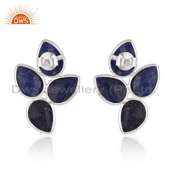 Suppliers 925 Sterling Silver Leaf Design Lapis Gemstone Earrings Jewelry