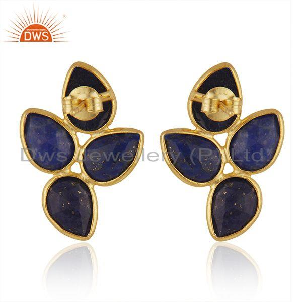 Suppliers New Arrival Gold Plated 925 Silver Lapis Gemstone Leaf Earrings Jewelry Supplier