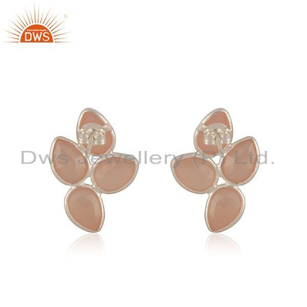 Suppliers Rose Chalcedony Gemstone Fine Sterling Silver Silver Stud Earring Wholesaler
