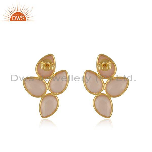 Suppliers Yellow Gold Plated Sterling Silver Rose Chalcedony Stud Earring Manufacturer