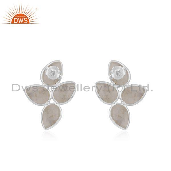 Suppliers 925 Sterling Silver Rainbow Moonstone Gemstone Earrings Supplier