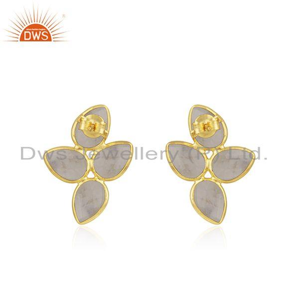 Suppliers Handmade Gold Plated 925 Silver Rainbow Moonstone Stud Earrings Jewelry