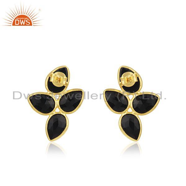 Suppliers Natural Black Onyx Gold Plated Silver Gemstone Earrings Jewelry