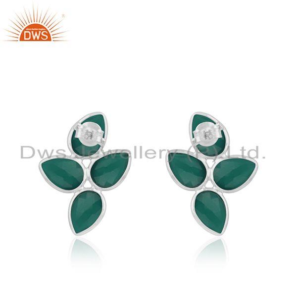 Suppliers Green Onyx Gemstone Fine Sterling Silver Stud Earring Manufacturer India