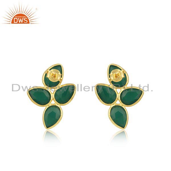 Suppliers Natural Green Onyx Gold Plated Designer Silver Earrings Jewelry