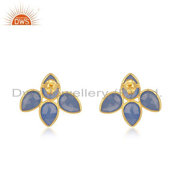 Suppliers Indian 18k Gold Plated Silver Blue Chalcedony Gemstone Stud Earrings Jewelry