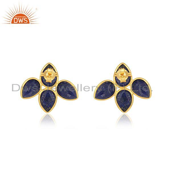 Suppliers Natural Lapis Gemstone 18k Gold Plated leaf Stud Earrings Jewelry