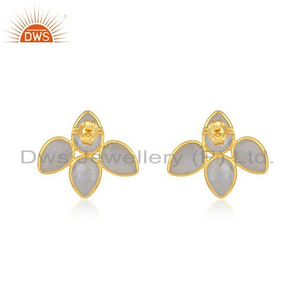 Suppliers Rainbow Moonstone 14k Gold Plated Sterling Silver Stud Earrings Jewelry
