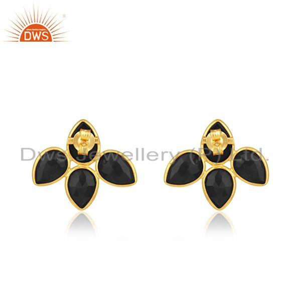 Suppliers Black Onyx Gemstone Gold Plated Silver Leaf Stud Earrings Jewelry