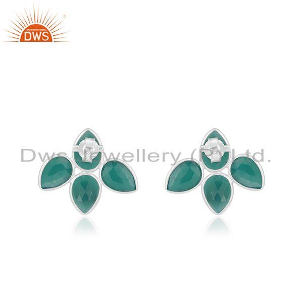 Suppliers Natural Green Onyx Gemstone Designer Fine Silver Earrings Jewelry