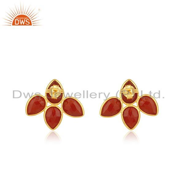 Suppliers Red Onyx Gemstone Leaf Design Gold Plated 925 Silver Stud Earrings Jewelry