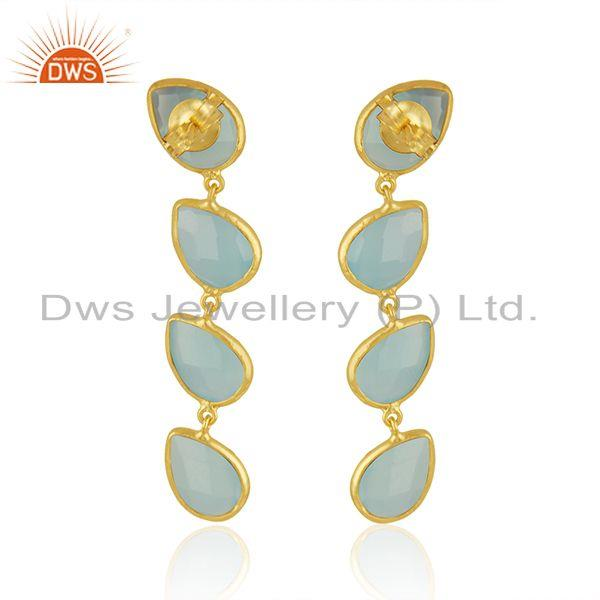 Suppliers Aqua Chalcedony Designer Gold Plated Silver Gemstone Dangle Earrings Jewelry