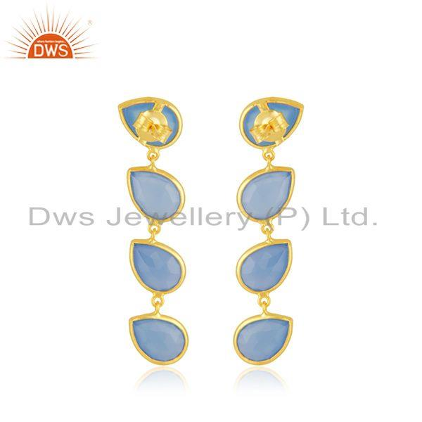 Suppliers Blue Chalcedony Gemstone Gold Plated 925 Silver Dangle Earrings Jewelry