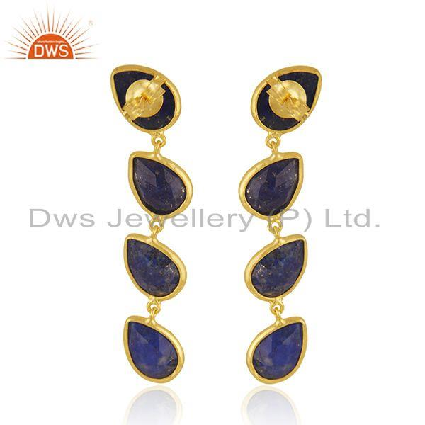 Suppliers Natural Lapis Gemstone 18k Gold Plated 925 Silver Dangle Earrings Jewelry