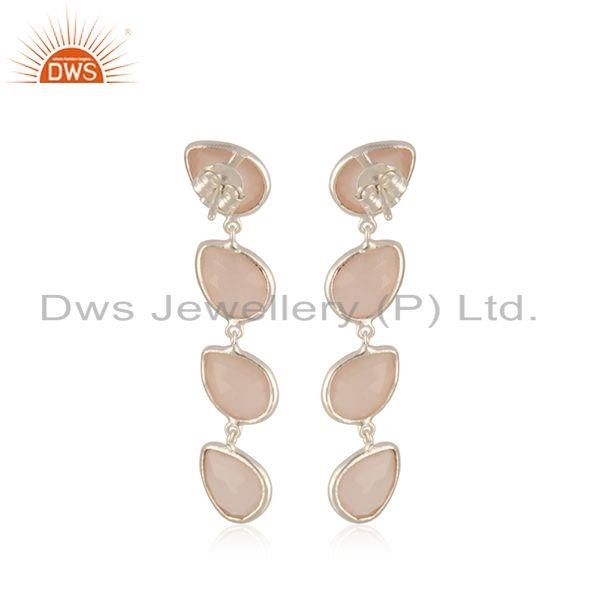 Suppliers Handmade 925 Sterling Fine Silver Rose Chalcedony Gemstone Earring Manufacturer