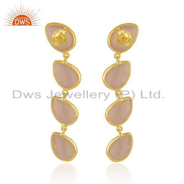 Suppliers 14k Gold Plated Designer Silver Rose Chalcedony Dangle Earrings Jewelry