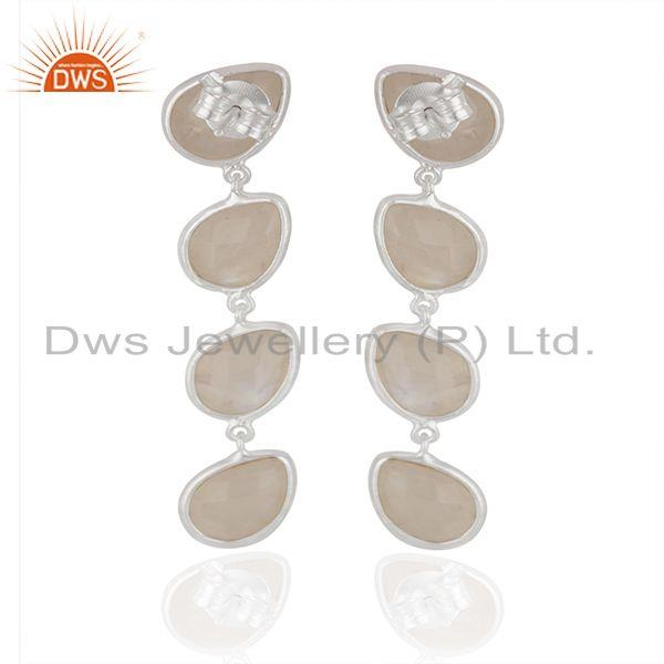 Suppliers Rainbow Moonstone Fine Sterling Silver Earring Manufacturer India