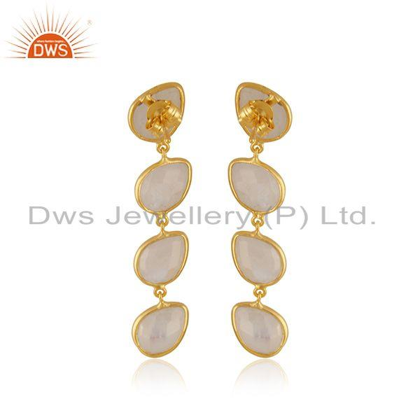 Suppliers Natural Rainbow Moonstone Gold Plated 92.5 Silver Dangle Earrings Supplier INdia