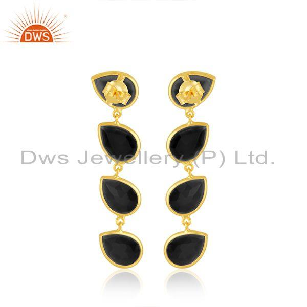 Suppliers Natural Black Onyx Gemstone Dangle Earring Silver Gold Plated Jewelry