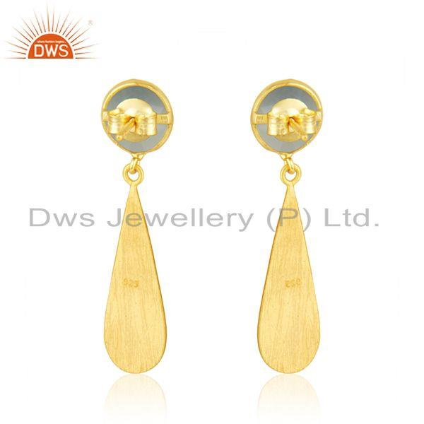 Suppliers Handmade Gold Plated 925 Silver Aqua Chalcedony Gemstone Earrings Manufacturer