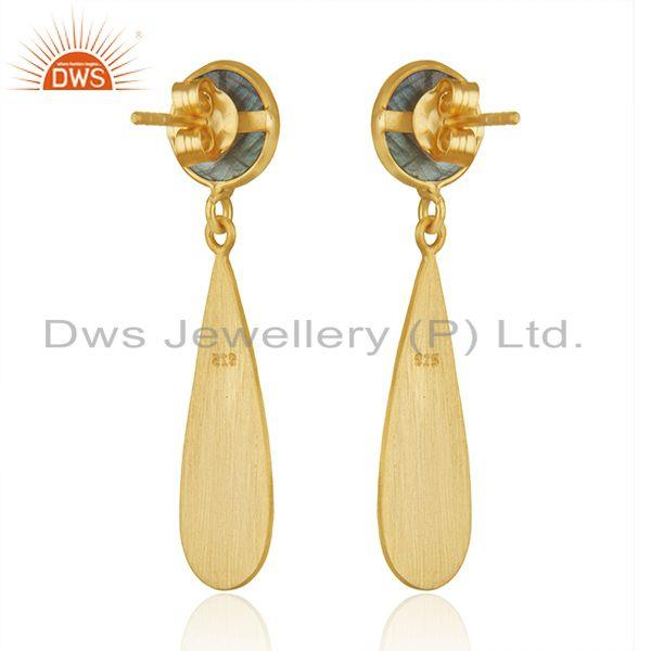 Suppliers Yellow Gold Plated 925 Silver Labradorite Gemstone Earrings Jewelry