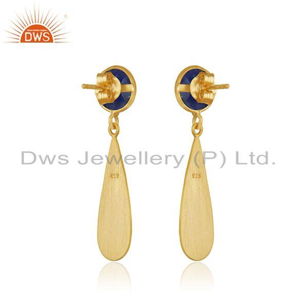 Suppliers Handmade Sterling Silver Gold Plated Lapis Lazuli Gemstone Earrings Suppliers