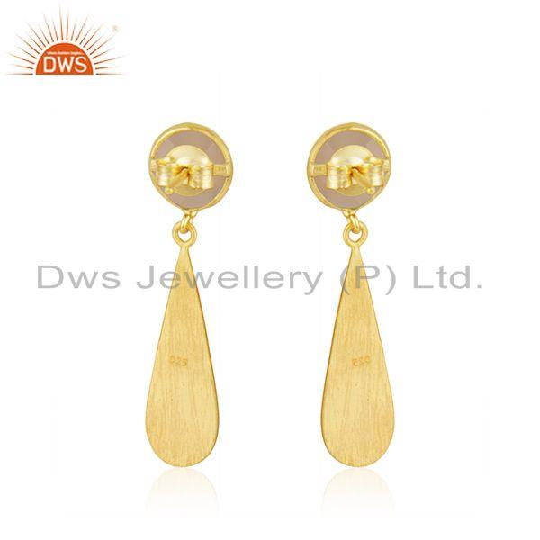 Suppliers Rose Chalcedony Gemstone Gold Plated Silver Earring Jewelry Manufacturer