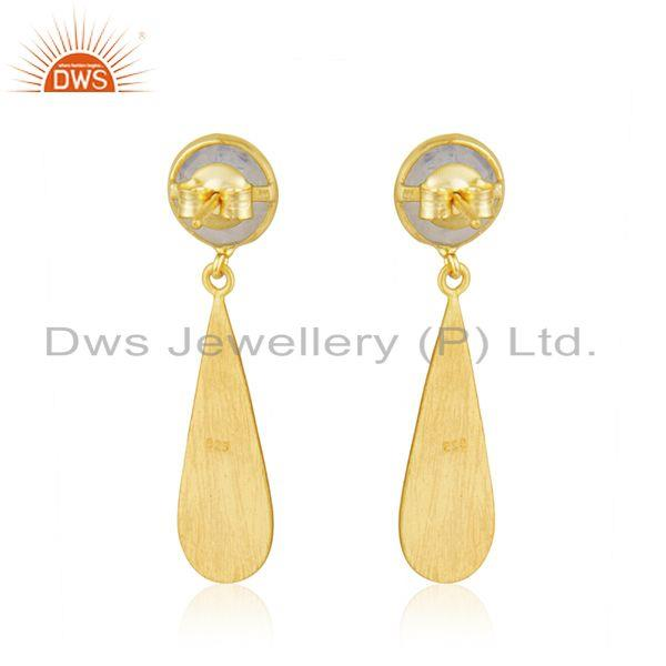 Suppliers 14k Gold Plated Designer Silver Rainbow Moonstone Earrings Jewelry