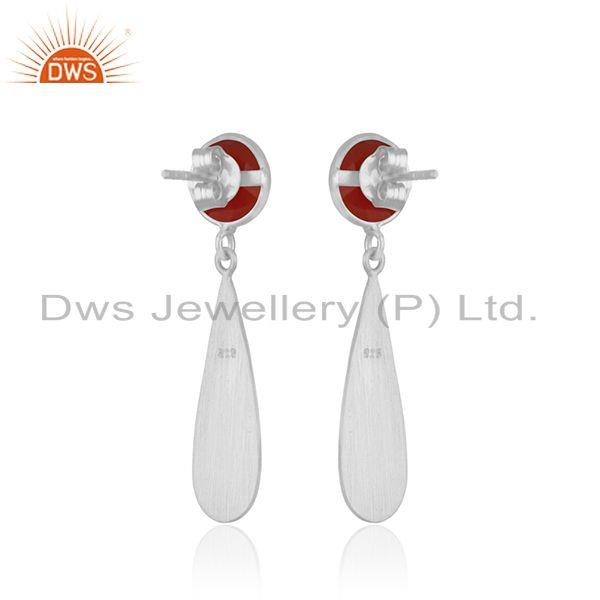 Suppliers Red Onyx Gemstone 925 Sterling Silver Handamde Earrings Manufacturer INdia