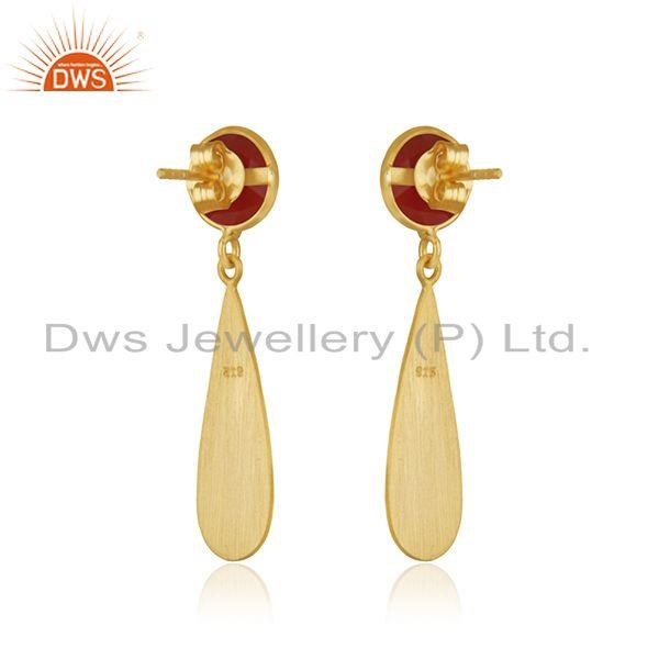 Suppliers Red Onyx Gemstone 925 Silver Gold Plated Earrings Jewelry Manufacturer