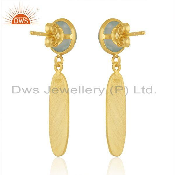 Suppliers Texture 18k Gold Plated Silver Aqua Chalcedony Gemstone Earrings Jewelry