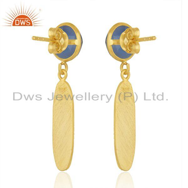 Suppliers Handmade Gold Plated Silver Blue Chalcedony Earrings Jewelry