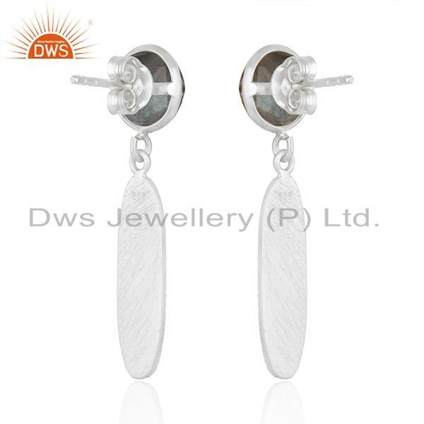Suppliers Texture Sterling Silver Natural Labradorite Gemstone Earrings Jewelry