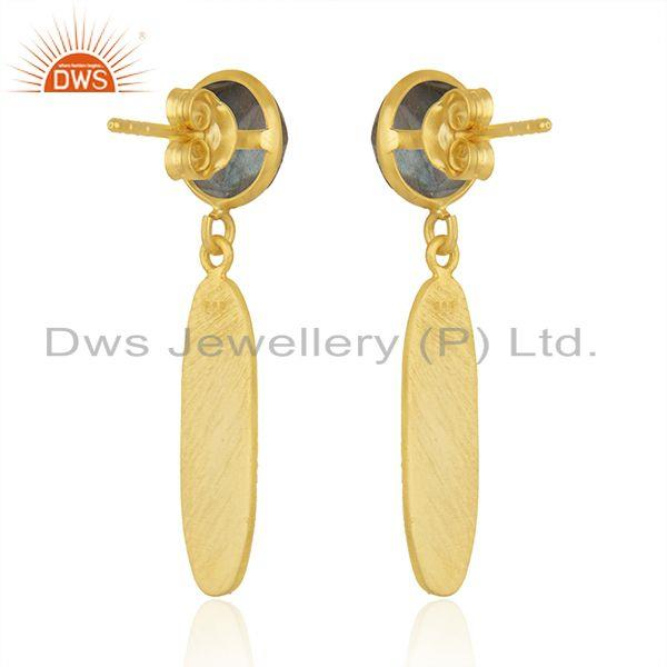 Suppliers Designer Gold Plated 925 Silver Labradorite Gemstone Earrings Jewelry