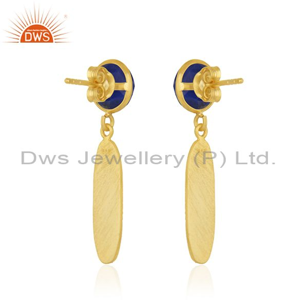 Suppliers Natural Lapis Lazuli Gemstone Gold Plated 925 Silver Earring Wholesaler India