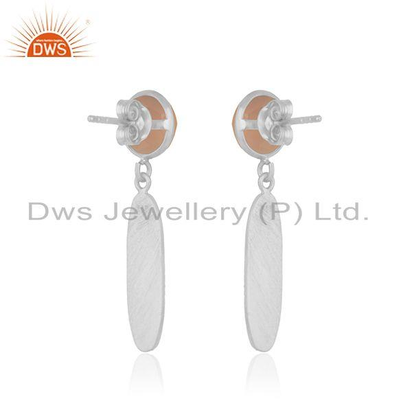 Suppliers Rose Chalcedony 92.5 Sterling Silver Handmade Earring Manufacturer India