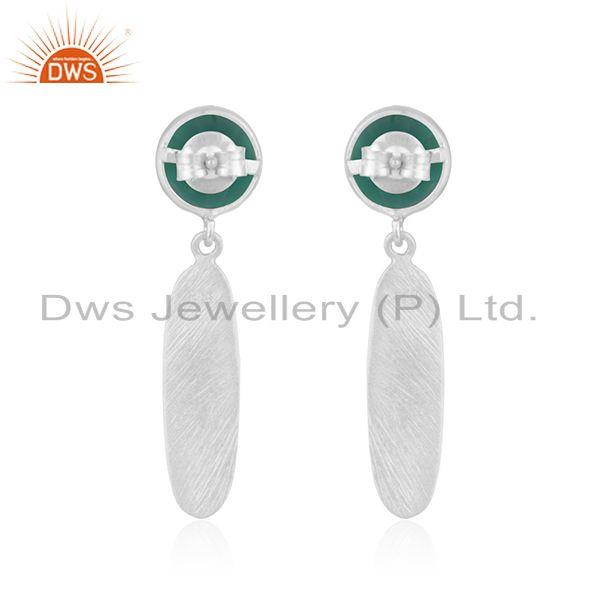 Suppliers 925 Sterling Silver Natural Green Onyx Gemstone Earrings Jewelry Manufacturer