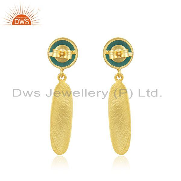 Suppliers New Designer Gold Plated Silver Green Onyx Earrings Jewelry