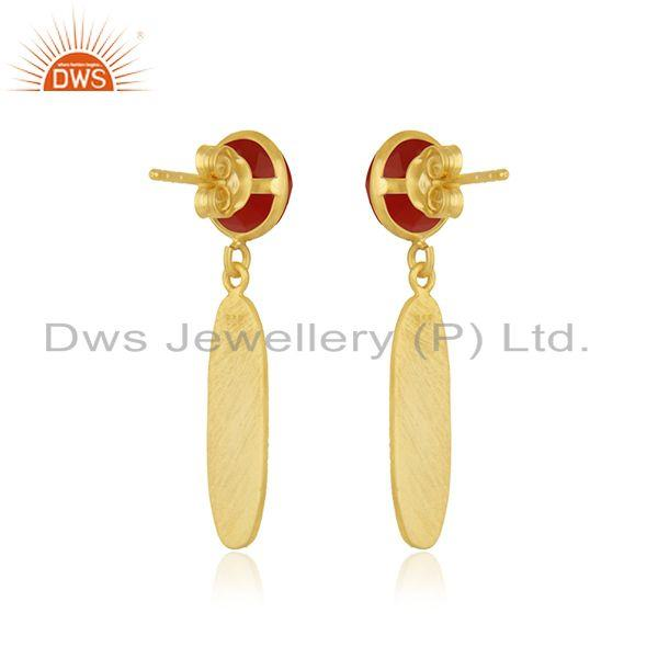 Suppliers Red Onyx Gemstone 925 Sterling Silver Gold Plated Earring Jewelry Wholesale