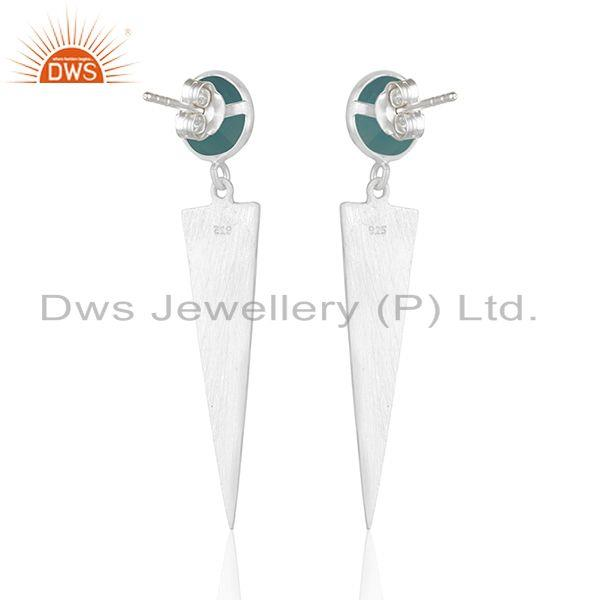 Suppliers Wholesale Fine Silver Designer Aqua Chalcedony Earrings Jewelry Supplier
