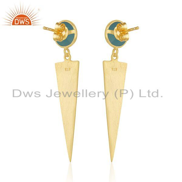 Suppliers 18 Gold Plated Designer Silver Aqua Chalcedony Earrings Jewelry