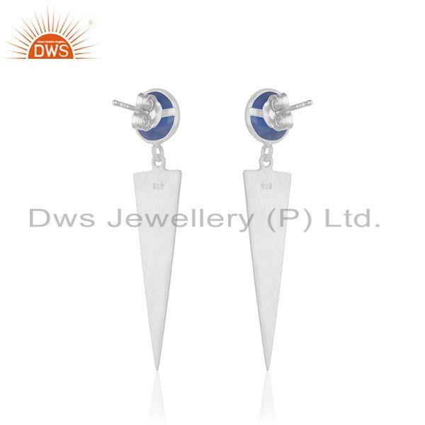 Suppliers Blue Chalcedony Gemstone Fine Sterling Silver Earring Manufacturer India