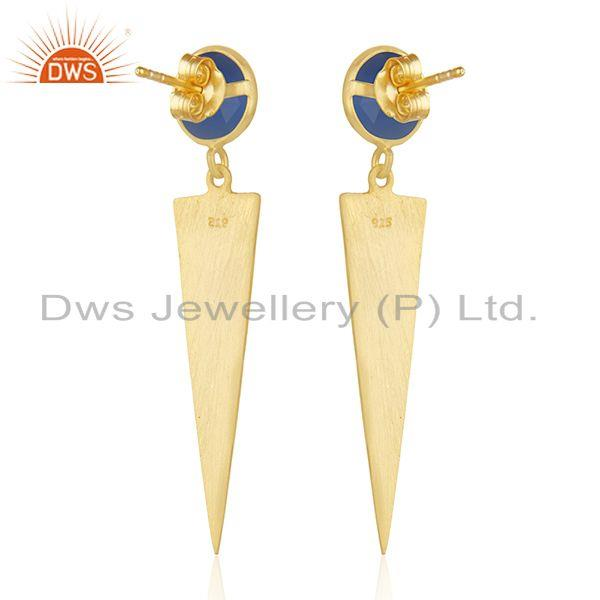 Suppliers Natural Blue Chalcedony Gemstone Gold Plated Silver Earrings Jewelry
