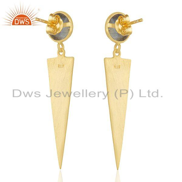 Suppliers Labradorite Gemstone 14k Gold Plated Silver Earrings Jewelry Manufacturer