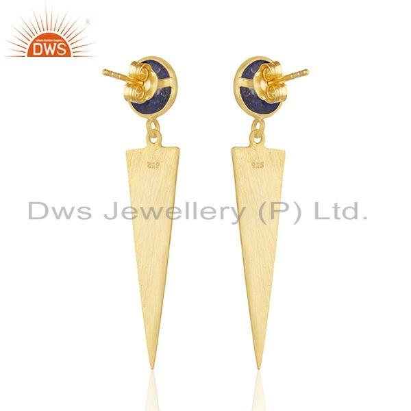 Suppliers Designer Gold Plated 925 Silver Lapis Gemstone Earrings Jewelry Wholesale