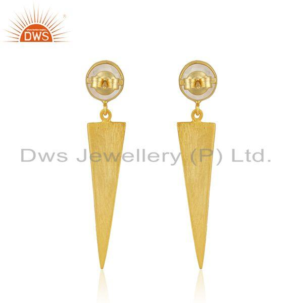 Suppliers New Arrival 18k Gold Plated Silver Rainbow Moonstone Earrings Jewelry