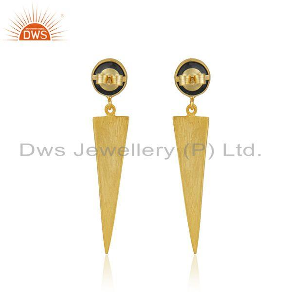Suppliers Black Onyx Gemstone Designer Silver Gold Plated Earrings Jewelry Supplier