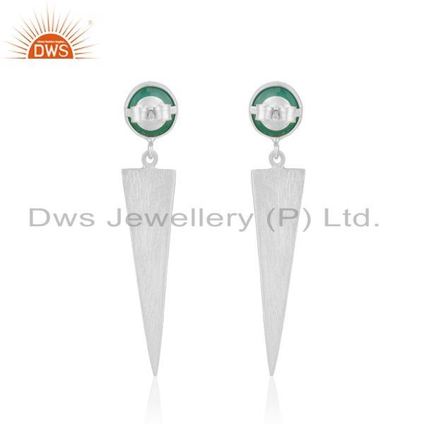 Suppliers Handmade 925 Silver Natural Green Onyx Gemstone Earrings Jewelry